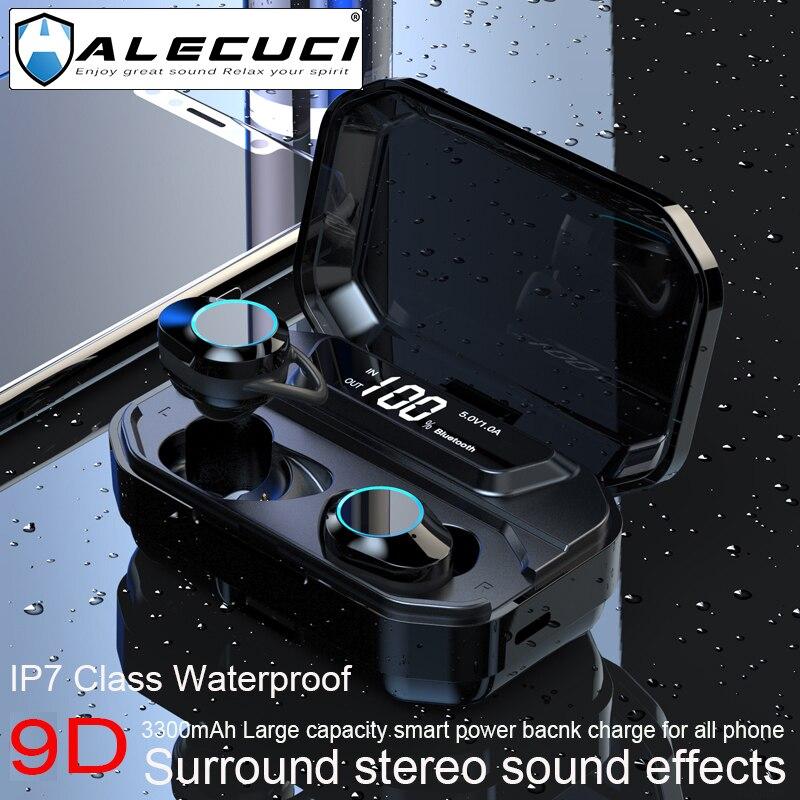 ALECUCI G02 Bluetooth 5,0 наушники беспроводные наушники IPX7 водонепроницаемые HD стерео наушники с шумоподавлением с микрофоном для спорта
