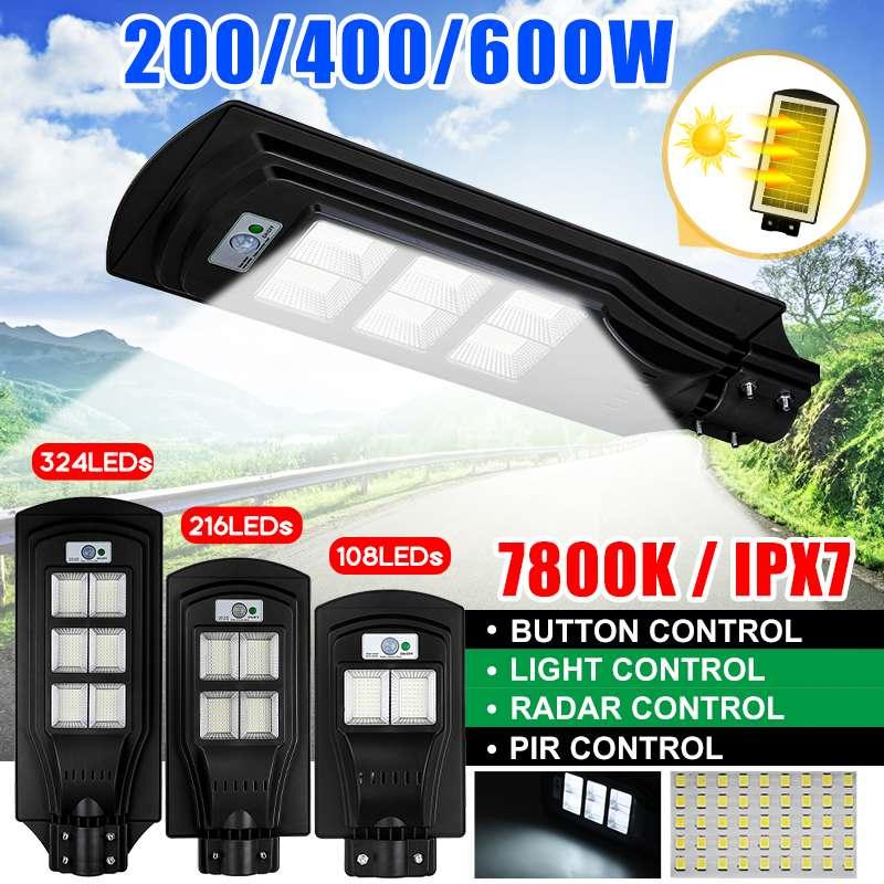 200/400/600W 108/216/324 LED Solar Light Outdoor Garden Solar Lamp Radar PIR Motion Sensor Wall Light Solar Powered Street Light