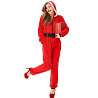 Christmas Family Matching Outfits Red Christmas Hooded Jumpsuit Santa Claus Party Christmas Costume Hooded High Waist Jumpsuit