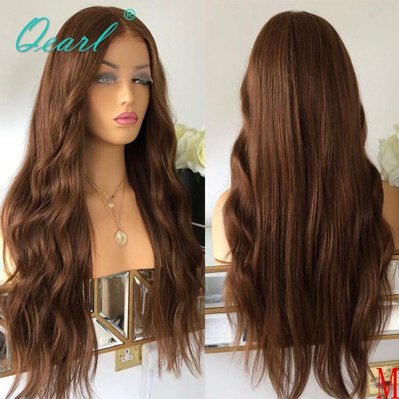 Ludzkich włosów 360 peruki typu Lace front głębokie boczne rozstanie 180% 250% gęstość brązowy podkreśla kolorowe włosy typu Remy naturalne fale peruka Qearl
