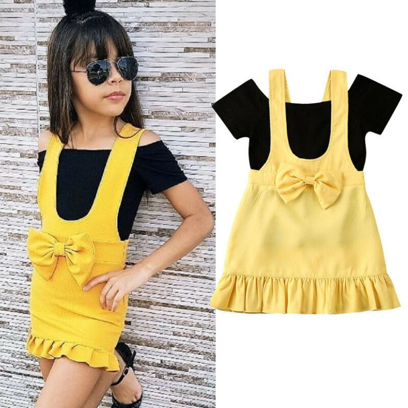 2020 Fashion Summer Girl Dress  Toddler Kid Baby Girl Clothes Top T-shirt Strap Dress Outfit With Bow Summer