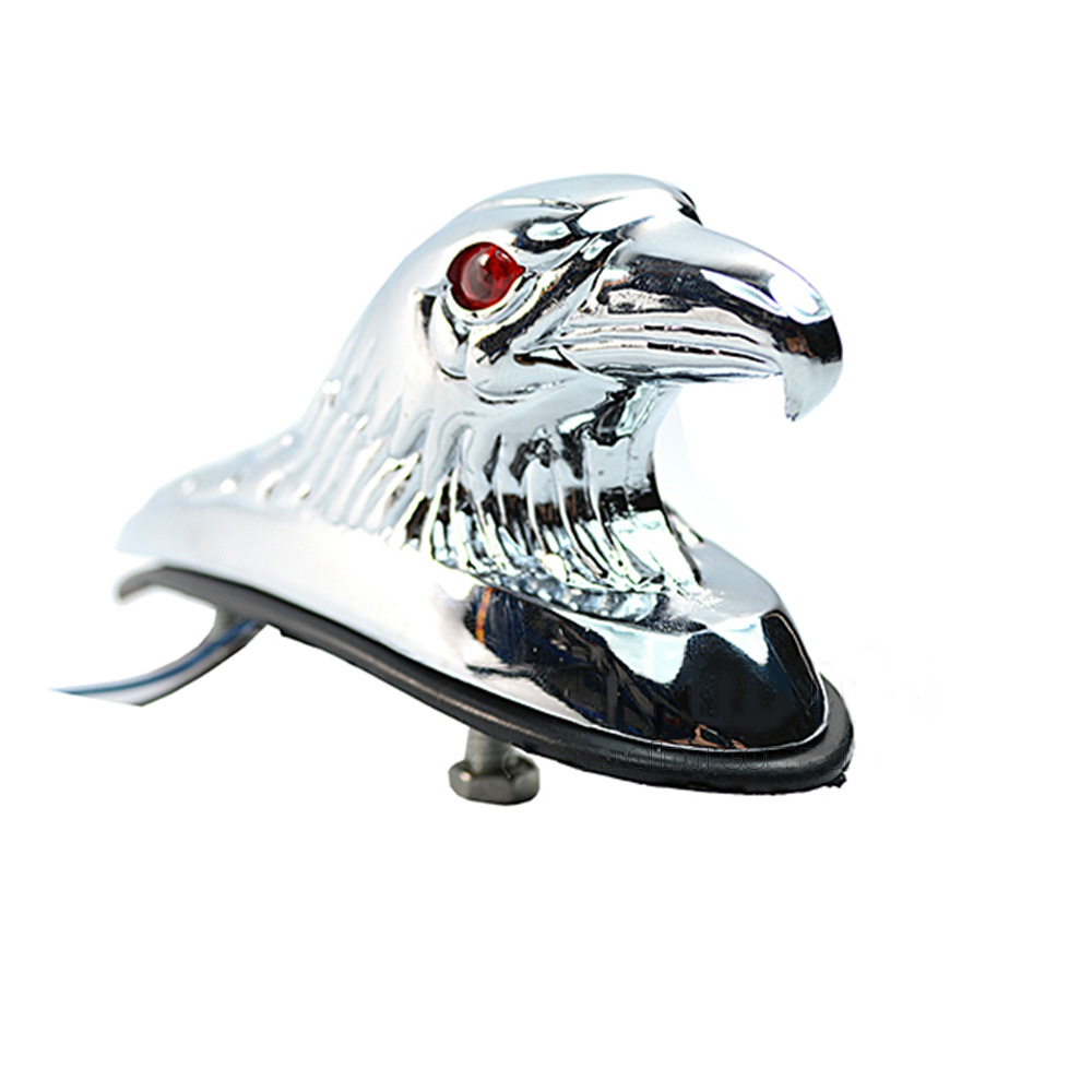 BJMOTO Motorcycle Red Lighted Eyes Chrome Eagle Head Ornament Statue Motorbike ATV Front Fender Frames&Fitting Car Bonnet Light