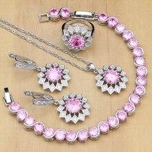 أشعة الشمس الفضة 925 مجوهرات جميلة الوردي زركون مجموعات مجوهرات للنساء أقراط/قلادة/خواتم/سوار/قلادة مجموعة