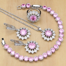 Luz do sol 925 Jóias Bonito Rosa Cúbicos de Zircônia Conjuntos de Jóias de Prata Para As Mulheres Brincos/Pingente/Anéis/Pulseira/conjunto de colar