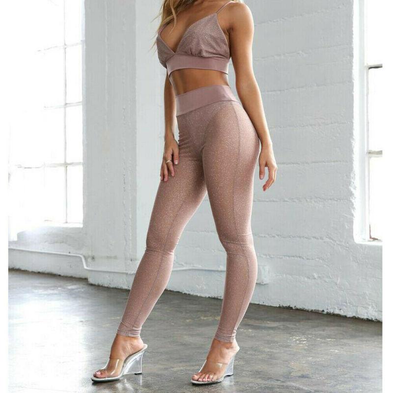 Sexy Women's   Leggings   Casual See Through Net Mesh   Leggings   Sparkling High Waist Pants Trousers Skinny Length Pants
