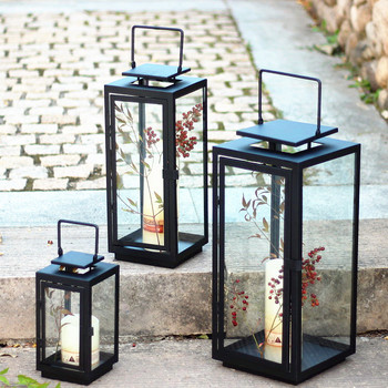Hanging Glass Candle Holder Outdoor Vintage Black Iron Windproof Candle Holder Romantic Glass Simple Menorah Candlestick New