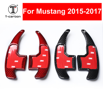 Car styling Real Carbon Fiber Steering Wheel Shift Paddles Extension Shifters For Ford Mustang 2015-2017 Interior Inner Decorate
