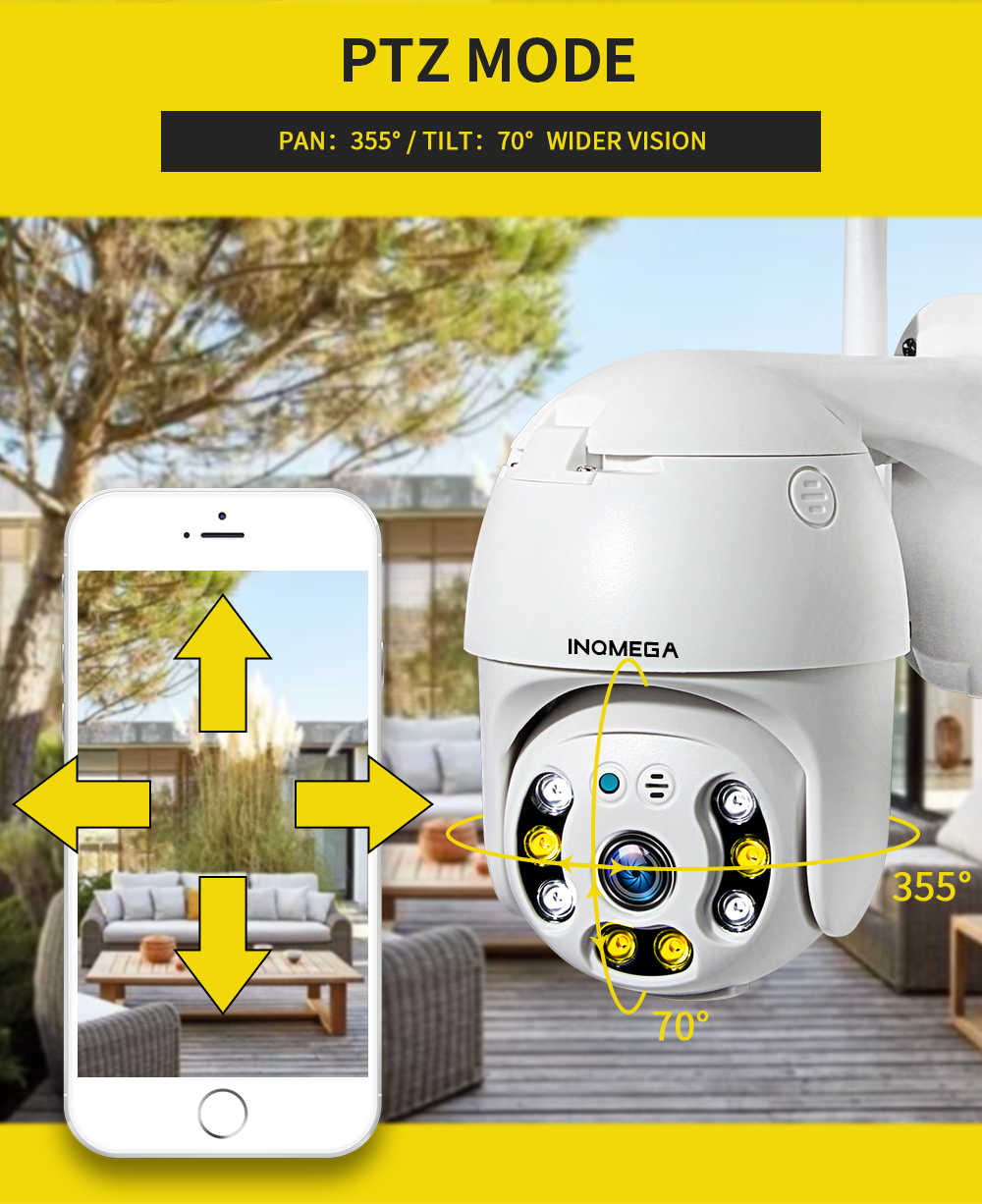 INQMEGA 1080P PTZ  Dome Camera Auto Tracking Outdoor Cloud Storage Wireless  Camera  IP65 Waterproof  Night Vision Full Color
