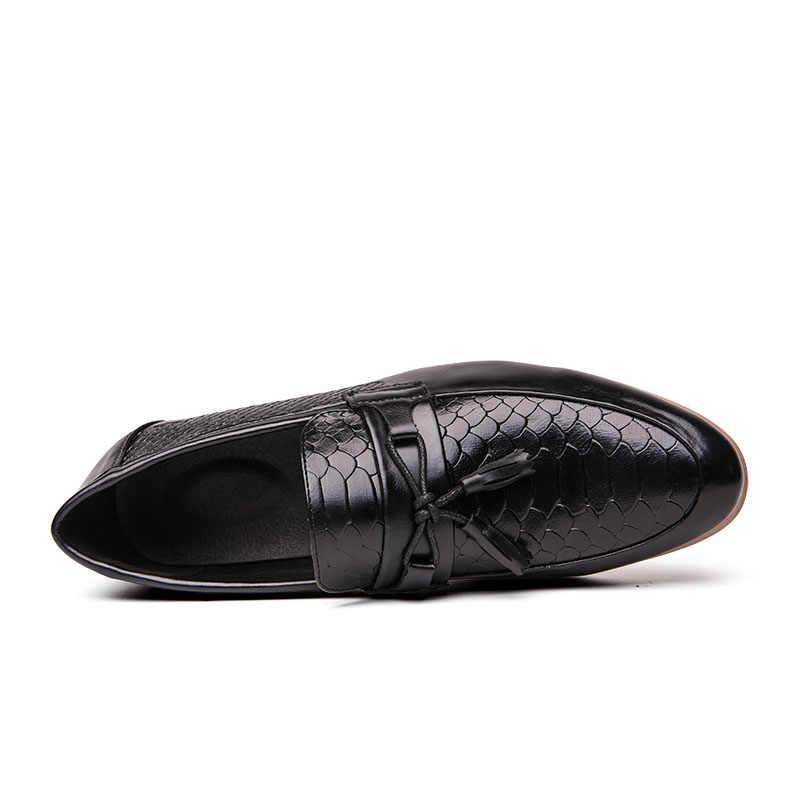 Брендовая модная деловая обувь Bullock; Деловая обувь для мужчин; Итальянская Роскошная модельная обувь больших размеров; Мужские повседневные лоферы; Вечерние туфли на плоской подошве
