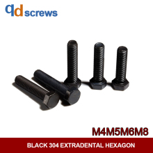 Black Oxide 304 M4M5M6M8 outside hex screw stainless steel bolt DIN933 GB5783 ISO 4017 JIS B 1180.4
