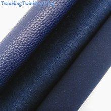 Tela azul marinho do brilho, tela do couro do falso, folha de couro sintética de litchi para arcos tamanho a4 8