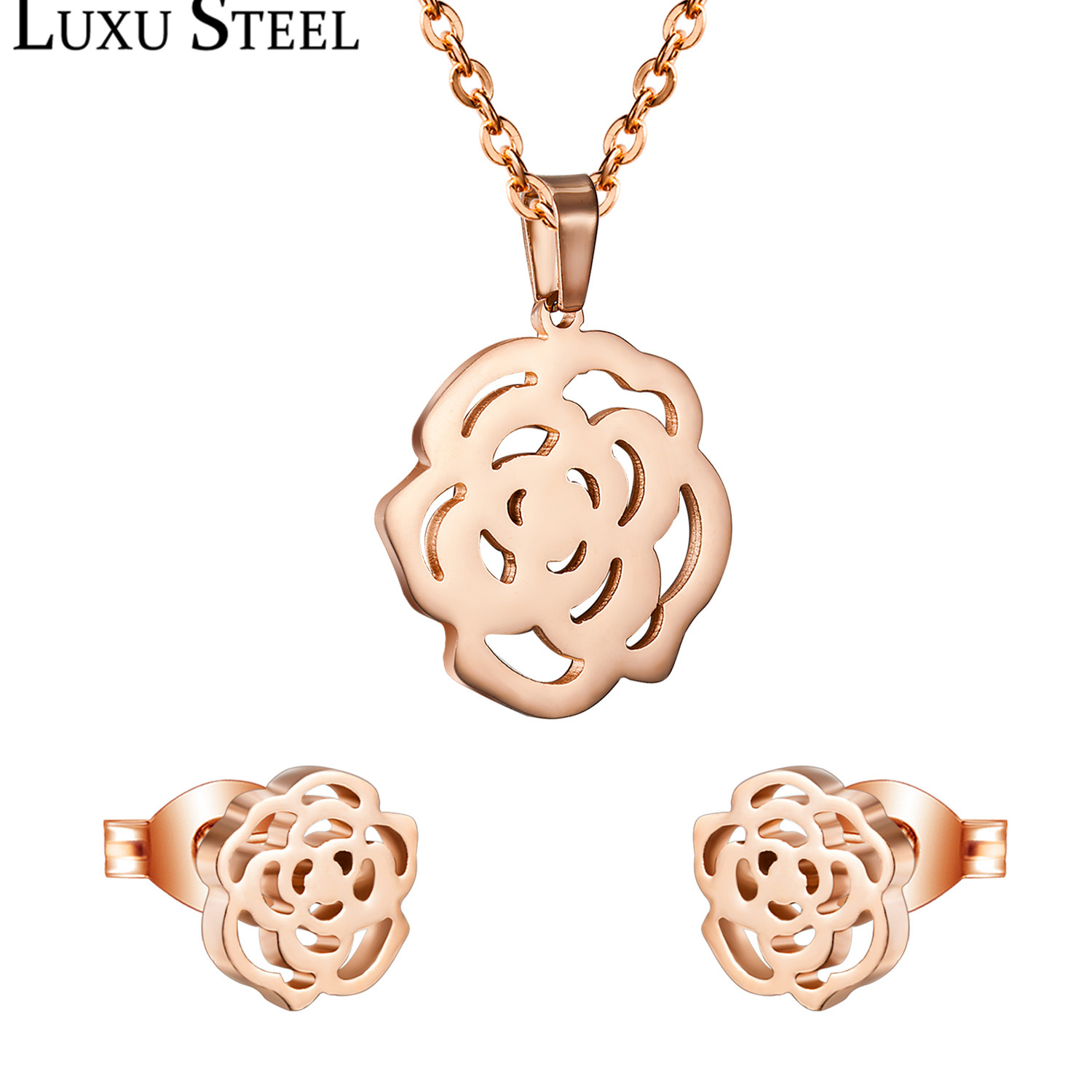 LUXUSTEEL Fashion Necklace Earring Sets Stainless Steel Gold Silver Rose Color Flower Pendant With Free 45cm Chain Necklaces
