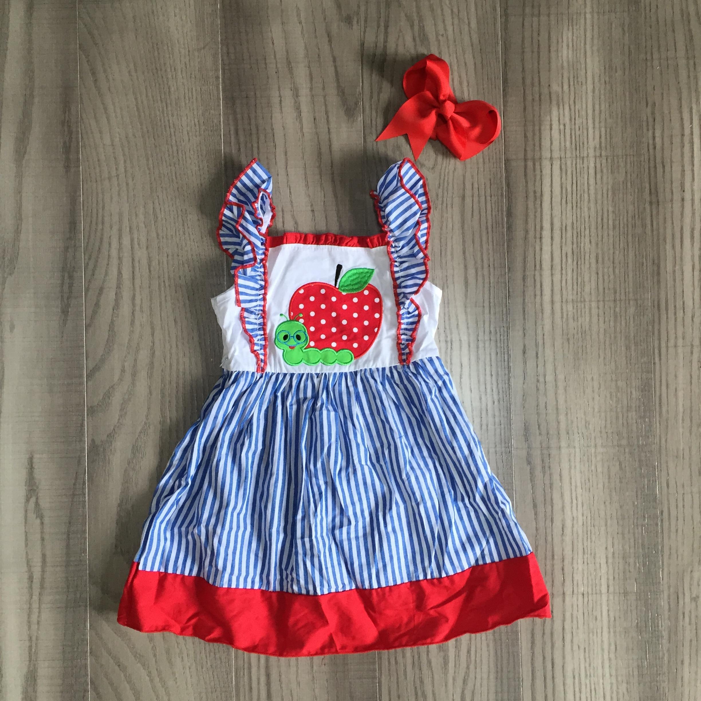 Girlymax Лето Одежда «Снова в школу Одежда для маленьких девочек; Платье до колен; Длина Apple ткани в полоску с короткими рукавами с бантом