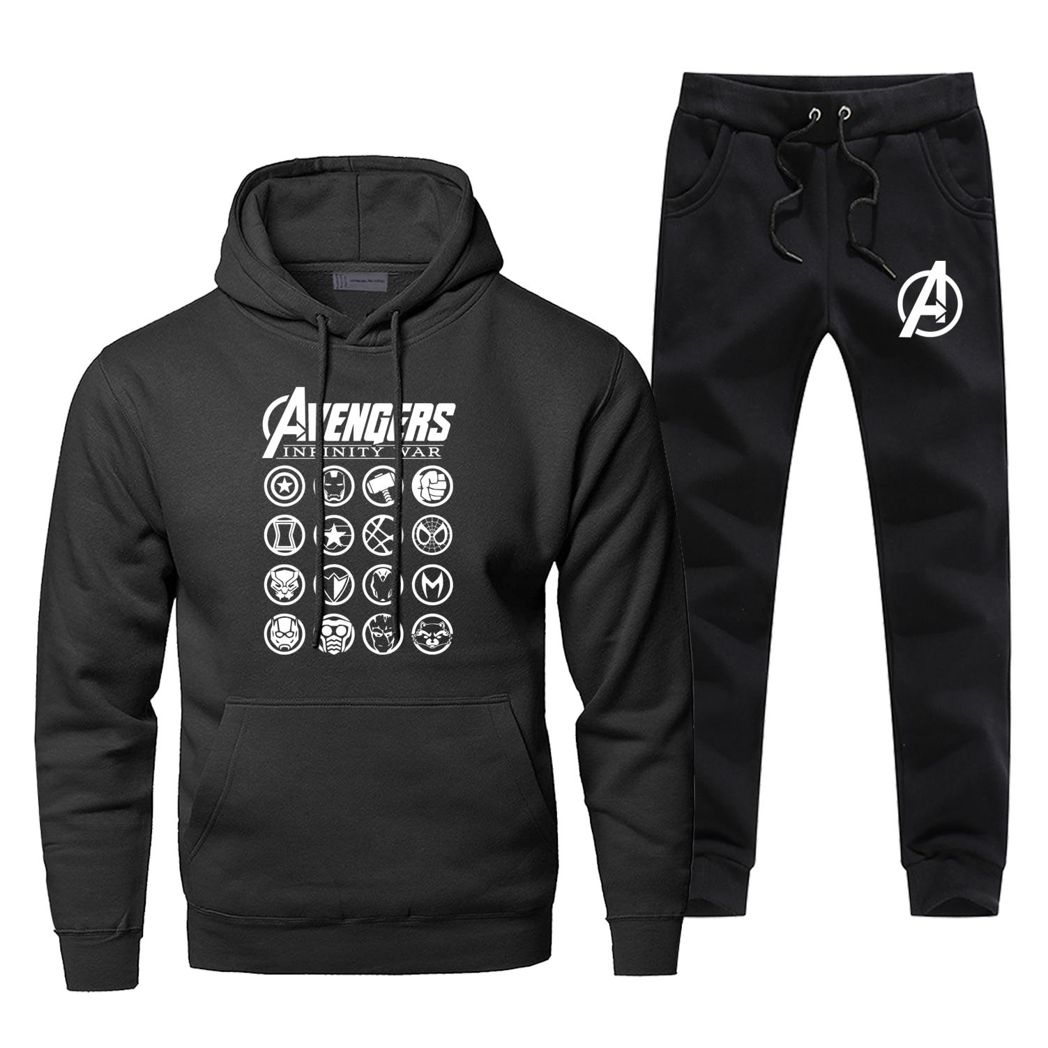 Avengers Hoodie Pants Set Super Hero Men Sweatshirt Male Hoodies Sweatshirts Mens Sets Two Piece Pant Pullover Iron Man Coats