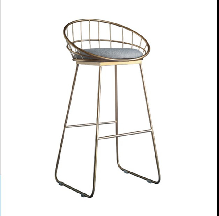 Stock Clearance! 65CM Simple Bar Stool Wrought Iron Bar Chair Gold High Stool Modern Dining Chair Leather Cushion