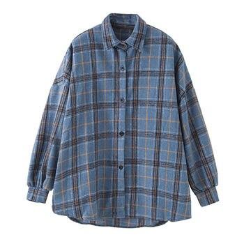 JuneLove Female Spring Street Blouse Shirts Vintage Oversized Plaid Flannel Boyfriend Tunic Shirt for Women Casual Korean Tops 6