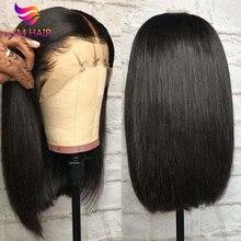 13x4 Короткие Синтетические волосы на кружеве парики из натуральных волос для Для женщин бразильские прямые волосы Remy парик Синтетические волосы на кружеве парик предварительно вырезанные детскими волосами