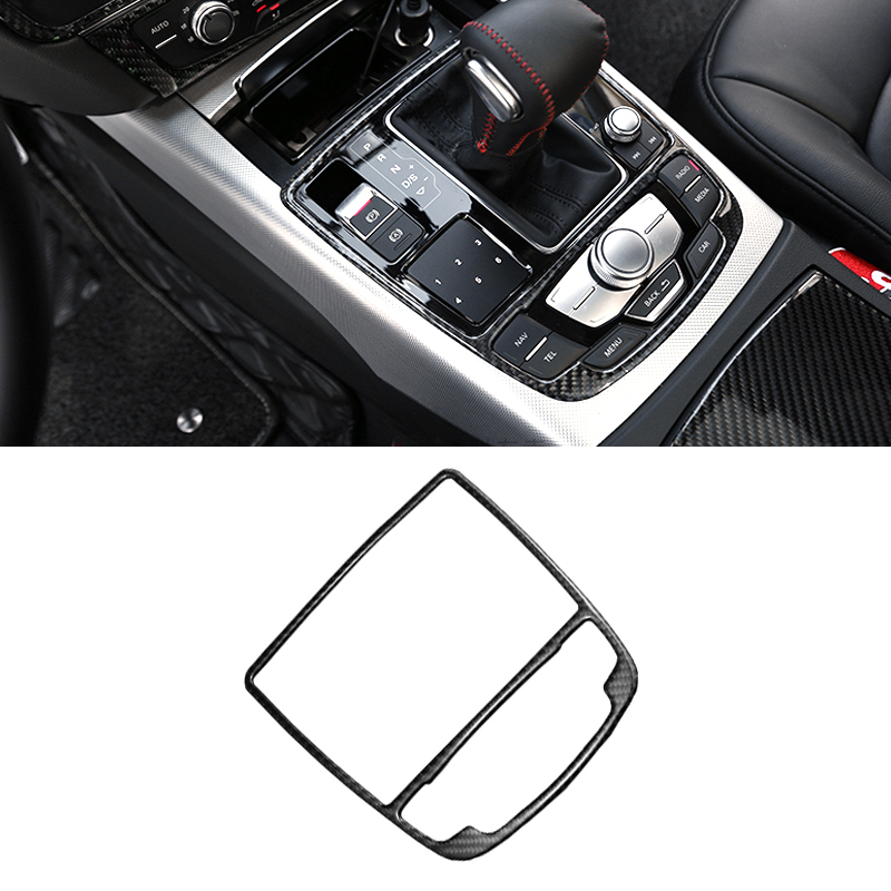 Carbon Fiber Interior Water Cup Holder Panel Cover Trim For Audi A6 C7 2012-2018