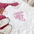 Ретро Милая Розовая облегающая футболка Rena Chupeter с вышивкой с волнистой кромкой и круглым вырезом, универсальная облегающая футболка с коро...