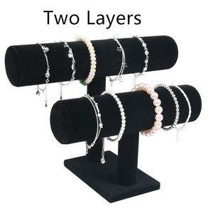 Image 4 - 1pcsคุณภาพสูงVINTAGE PUหนัง/กำมะหยี่สร้อยข้อมือนาฬิกาเครื่องประดับT Bar Rack Organizer Hardจอแสดงผลstand Holder
