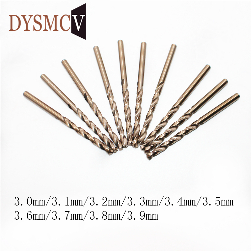 5pcs 3.0 3.1 3.2 3.3 3.4 3.5 3.6 3.7 3.8 3.9 Mm HSS-CO M35 Cobalt Steel Straight Shank Twist Drill Bits For Stainless Steel