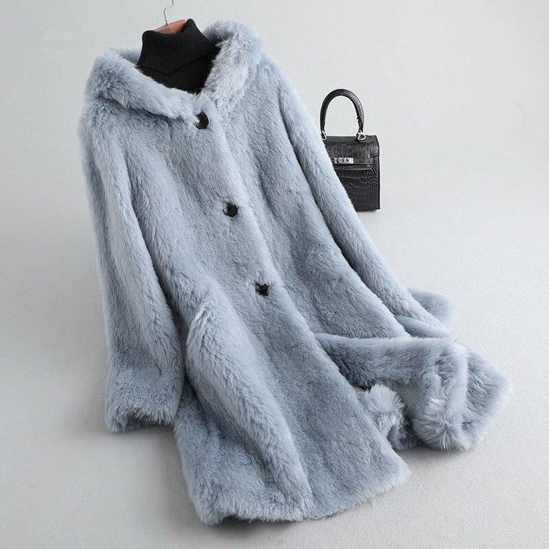 Wool 100% Coat Real Fur Coat Female Sheep Shearling Fur Jacket Winter Coat Women Clothes 2020 Korean Long Jackets MY4559 S