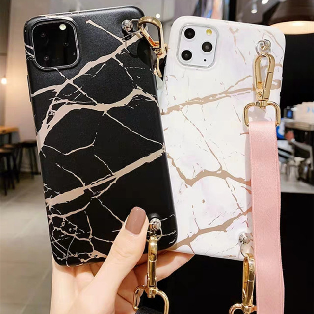 Marble Shoulder Strap Tpu Case For iphone
