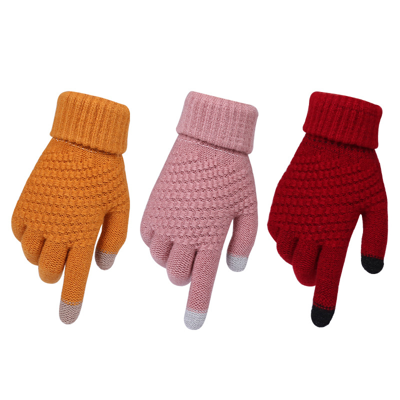 2019 Winter Touch Screen Gloves For Women Men Warm Stretch Knitted Mittens Imitation Wool Full Finger Black White Gloves