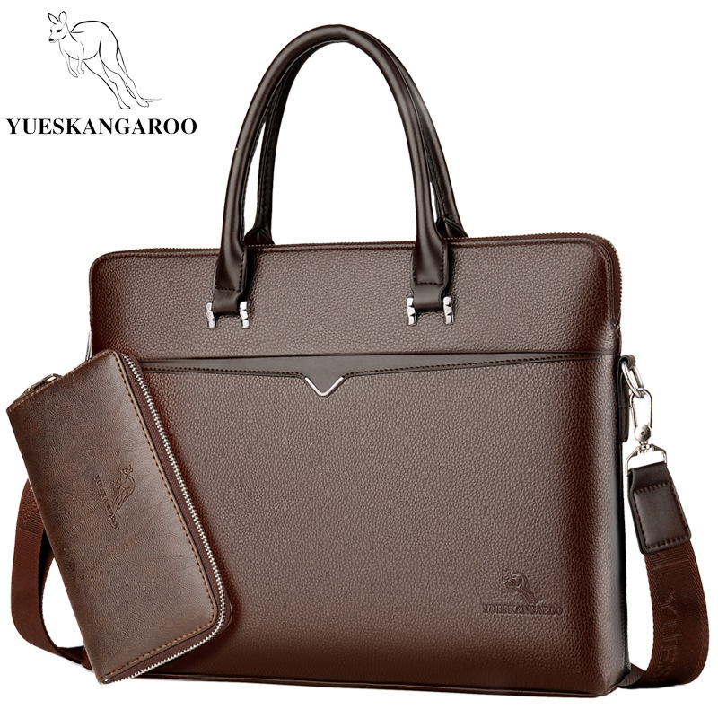YUESKANGAROO New Luxury Men's Briefcase Satchel Bags For Men Business Laptop Handbag PU Leather Shoulder Bag Male Travel Bags