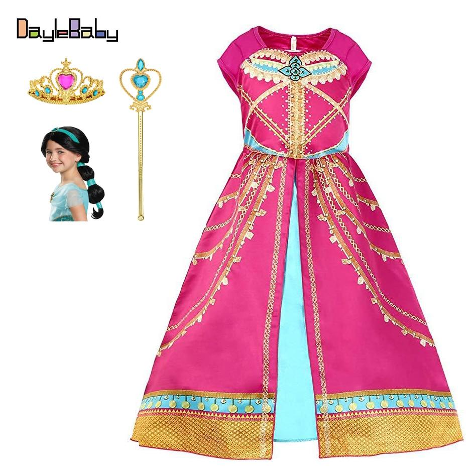 Girls Aladdin Jasmine Princess Costume Child Arabian Red Princess