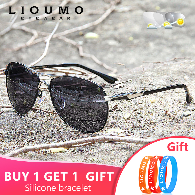 Aviation Sunglasses Men Women Polarized Photochromic Discoloration Eyewear For Day Night Driving Chameleon Glasses