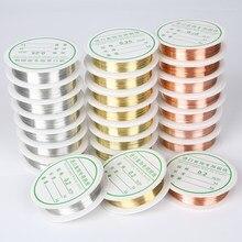 1 rolo (0.2mm-1mm) fio de liga de cobre dourado prata, faça você mesmo, fios de cobre, miçangas, fio para localização de jóias