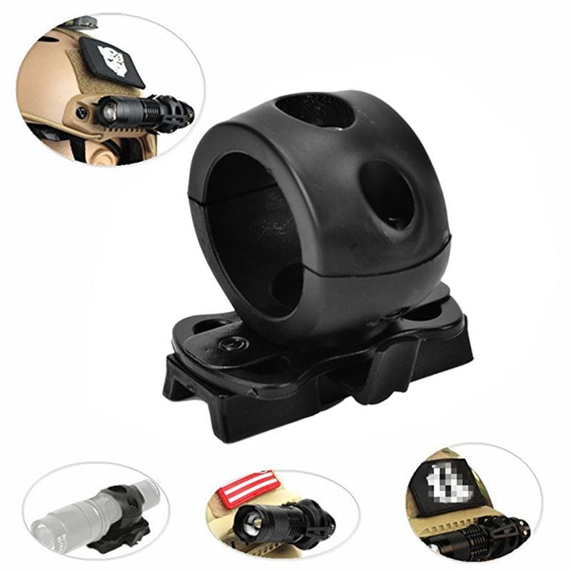 ABSF Quick Release Flashlight Clamp Holder Mount For Fast Helmet Universal (FAST, MICH, IBH, Etc. With Rail Helmet) 2.5cm Diamet