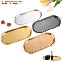 Hohe Qualität Edelstahl Ablage Rose Gold Silbrig Schwarz Oval Obst Platte Schmuck-Display Metall Tablett Speicher Supplies