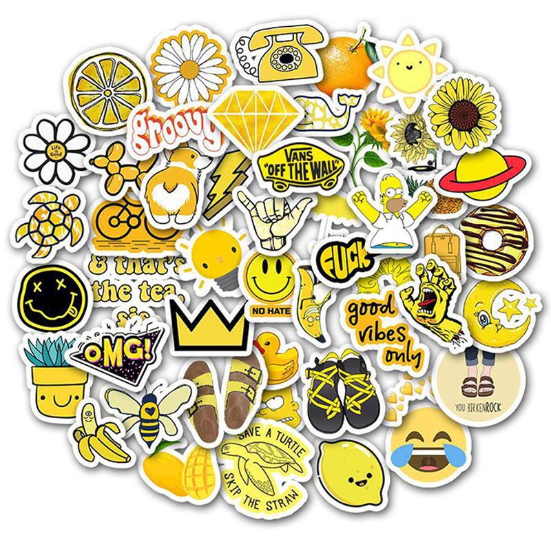 50 PCS Cartoon Yellow VSCO Stickers For Chidren Toy Waterproof Sticker To DIY Suitcase Laptop Bicycle Helmet Car Decals F3