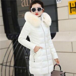 Image 5 - Winter Toevallige Bovenkleding Jassen Vrouwen New Fashion Koreaanse Style Capuchon Met Bont Warm Thicken Parka Vrouwen Lange Jassen P112