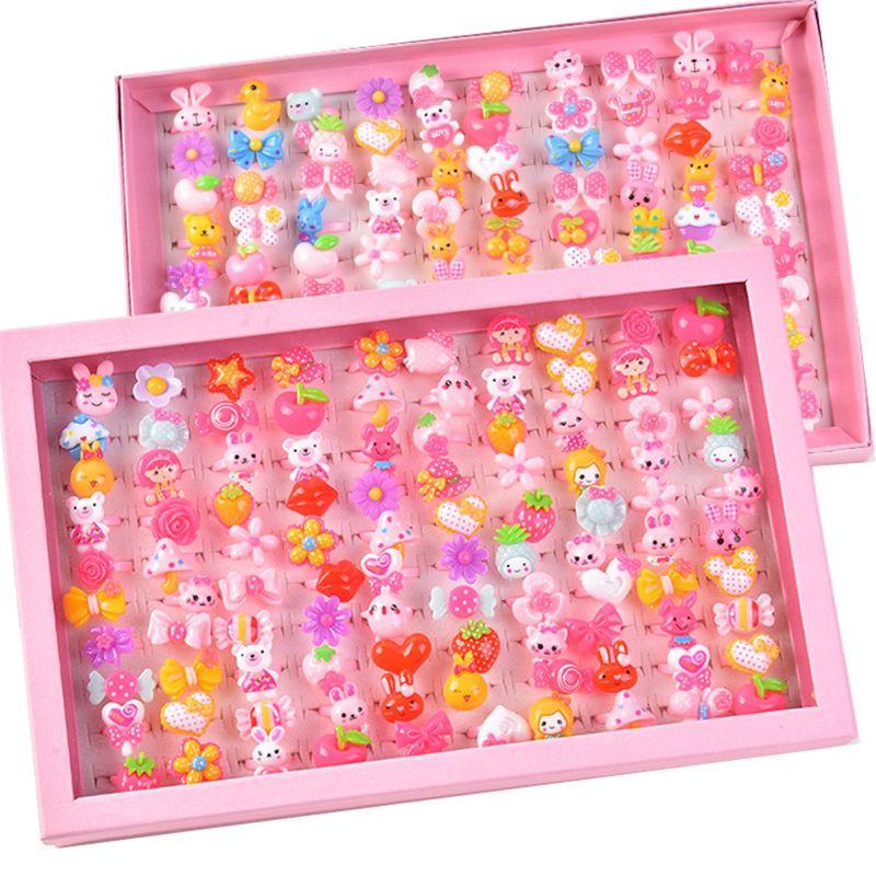 10pcs/lot Children's Cartoon Rings Candy Flower Animal Bow Shape Ring Set P31B