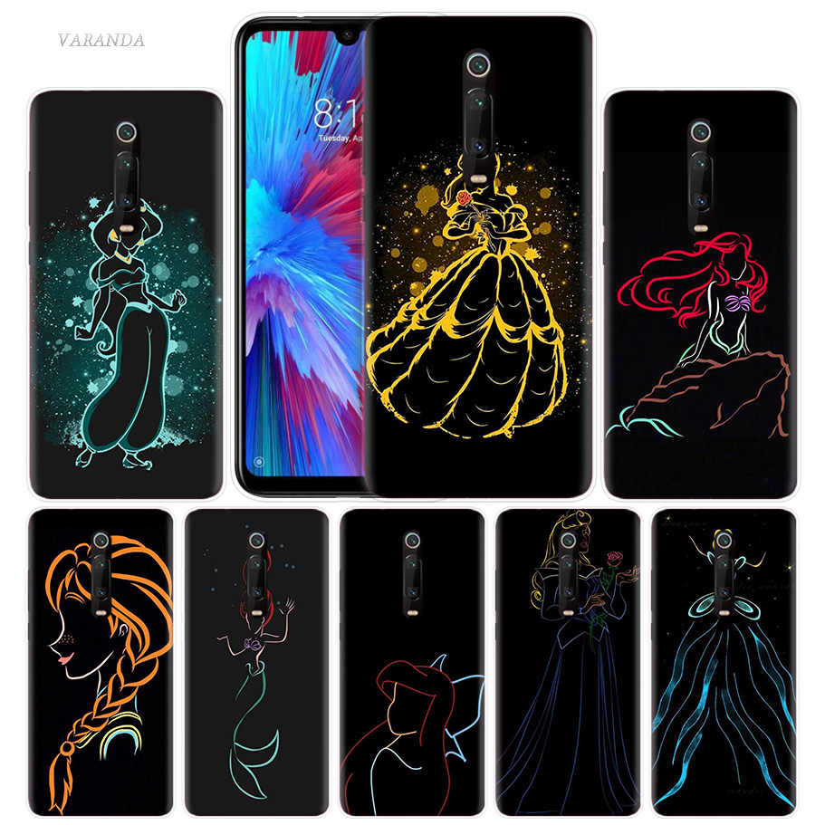 Cartoon Princess Mermaid Case for Xiaomi Redmi Note 8 7 K20 CC9 7S S2 6 6A 7A Pro MI CC9 E 9T A3 A1 A2 Lite F1 TPU Phone Cover