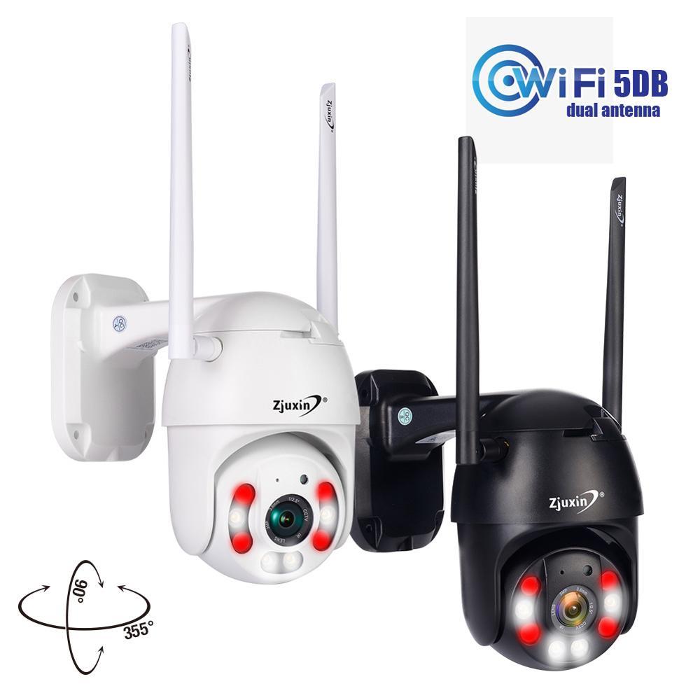 Câmera PTZ IP Wi-fi HD1080P Zjuxin Wired PTZ Sem Fio Ao Ar Livre Segurança CCTV Camra Dupla luz de detecção humana AI câmera nuvem