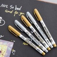 2 teile/los DIY Metallic Wasserdichte Permanent Farbe Marker Stifte Gold Und Silber Für Zeichnung Studenten Liefert Marker Kunsthandwerk Stift auf