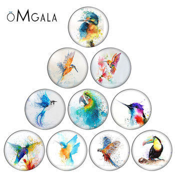 Fashion Colorful Painting Birds Animals 10pcs 10mm/12mm/18mm/20mm/25mm Round photo glass cabochon demo flat back Making findings - discount item  10% OFF Jewelry Making