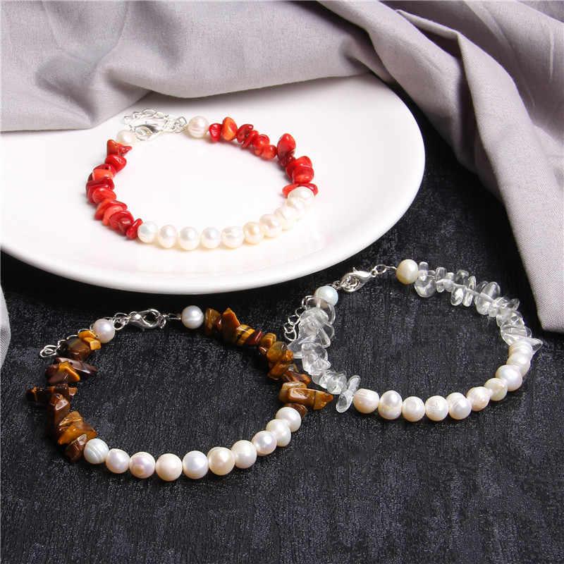 チャームブレスレット女性天然石ブレスレット真珠ビーズ女性ガールズ自由奔放に生きるブレスレット卸売