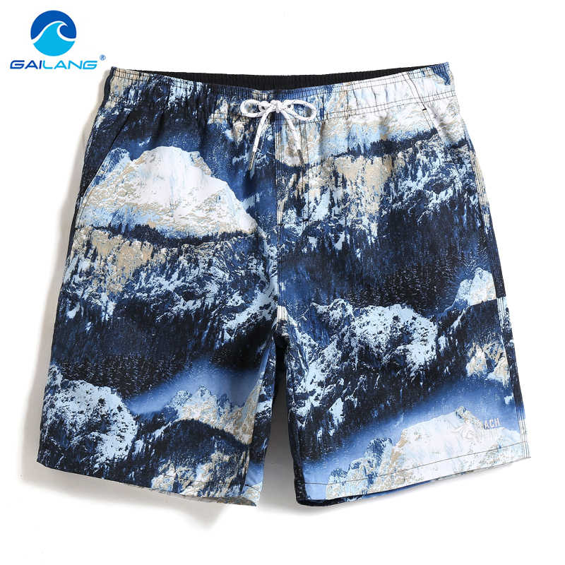 New Summer Men's Swimming trunks Snow Mountains joggers hawaiian bermudas Printed Sexy Board shorts Briefs mesh