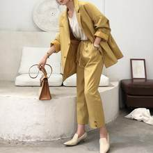 Suit female 2020 autumn new temperament loose long suit jacket + trousers Gothic color versatile elegant two-piece DC307(China)