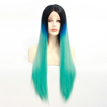 black blue green three tone ombre wig synthetic lace front wig silky straight turquoise ombre lace front wig Heat Resistant Hair стоимость