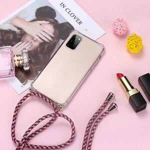 Luxus Lanyard Silikon Telefon Fall Für Samsung Galaxy S20 S10 E 5G S9 S8 Hinweis 20 10 9 8 lite Plus Ultra-dünne Halskette Seil Abdeckung