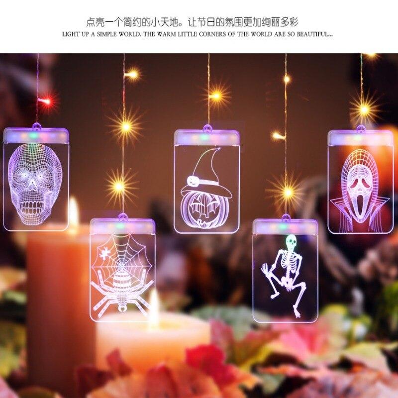 DIY Halloween Pattern Light USB Lamp Wall Hanging Fairy Lighting Lamp Halloween Hunted House Decoration
