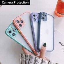 Камера защита бампер телефон чехлы для Samsung Galaxy A12 A32 A42 A52 A72 A02S матовый полупрозрачный противоударный задняя крышка чехол