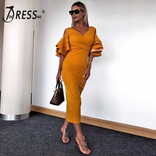 INDRESSME 2019 New Women Yellow Ruffle Butterfly Short Sleeve Dress Summer V-Neck Vestidos Celebrity Party Midi Club