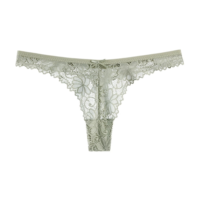 Sexy Lace Thong Low Waist Lace Transparent Panties Women Hollow Out Breathable G String Briefs Bow Underwear Lingerie